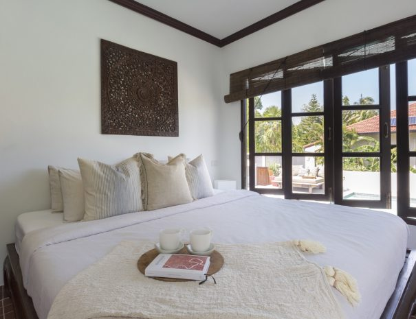 Bedroom at Villa Khamin, a 2 bedroom pool villa located in Bophut, Koh Samui, Thailand