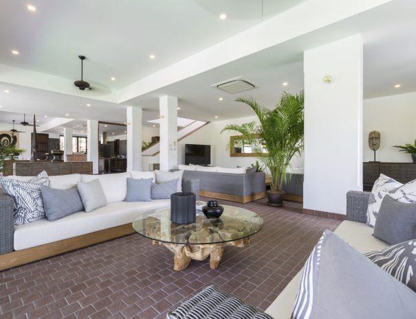 Living area at Villa Lemongrass, an 8 bedroom luxury garden villa located in Bophut, Koh Samui, Thailand