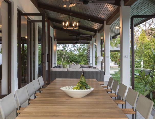 Outdoor dining at Villa Lemongrass, an 8 bedroom luxury garden villa located in Bophut, Koh Samui, Thailand