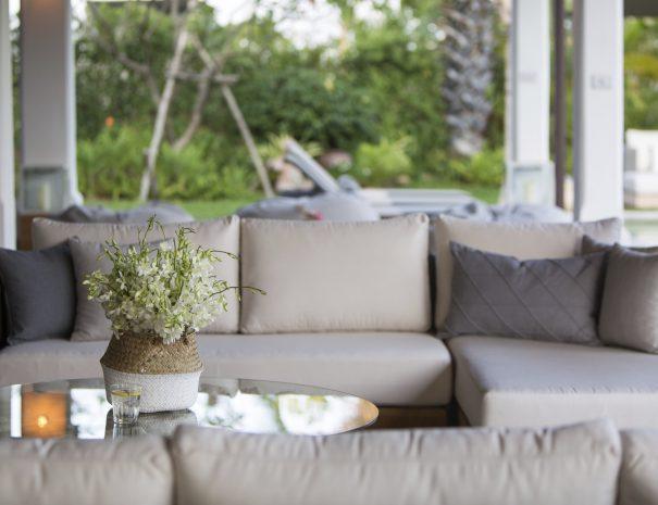 Outdoor lounging at Villa Lemongrass, an 8 bedroom luxury garden villa located in Bophut, Koh Samui, Thailand