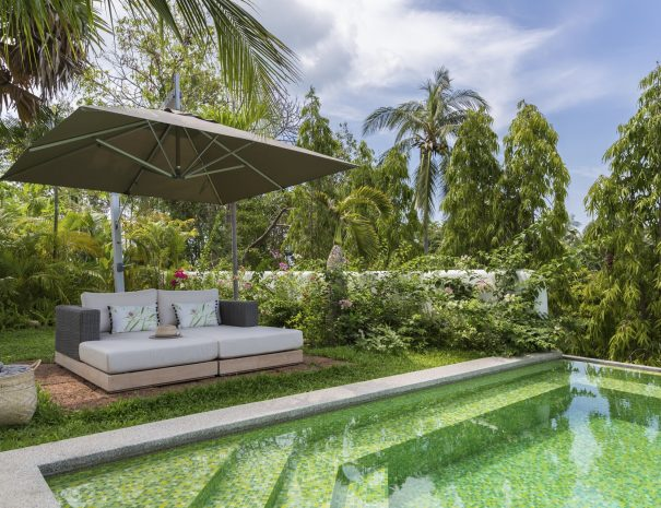 Pool lounging at Villa Lemongrass, an 8 bedroom luxury garden villa located in Bophut, Koh Samui, Thailand