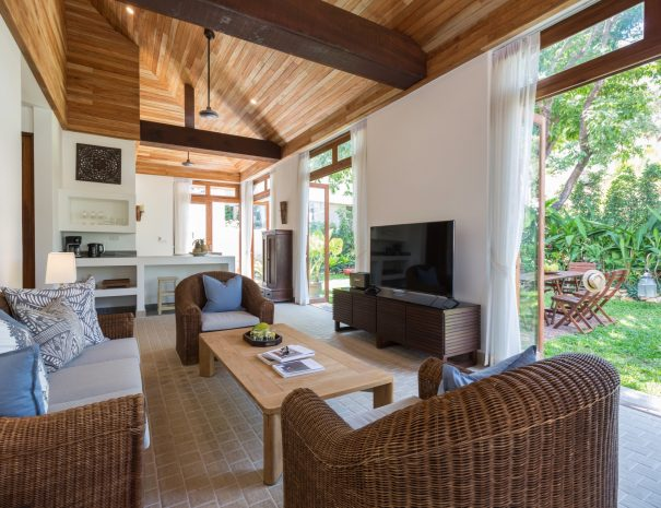 Living area at Villa Papaya, a 3 bedroom garden villa located in Bophut, Koh Samui
