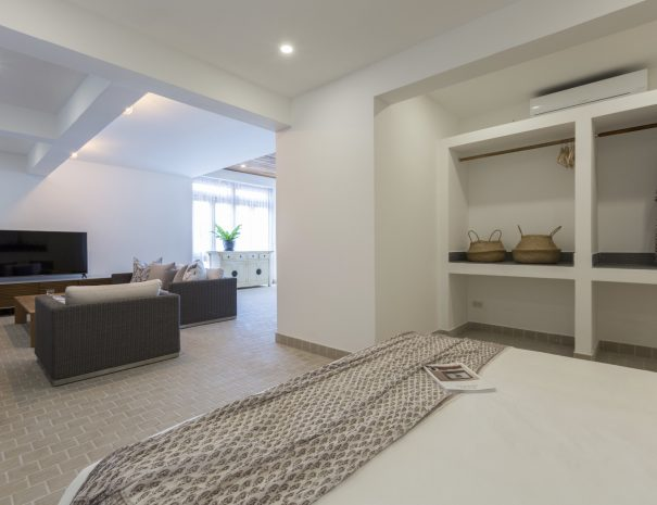 Bedroom at Papaya studio, a one bedroom studio with living, kitchen and bathroom located in Bophut, Koh Samui