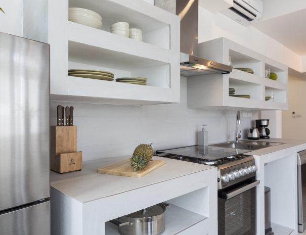 Kitchen at Papaya studio, a one bedroom studio with living, kitchen and bathroom located in Bophut, Koh Samui
