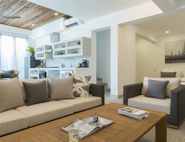 Living area in Papaya studio, a one bedroom studio with living, kitchen and bathroom located in Bophut, Koh Samui